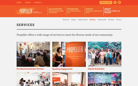 Screenshot of Services Page gopropeller.org - Services · Propeller - captured Feb. 2, 2016