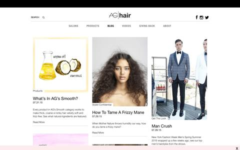 Screenshot of Blog aghair.com - Hair Fashion and Inspirations, How-to Videos, Interviews - AG Hair Blog - captured Aug. 5, 2015