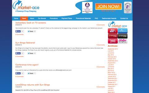 Screenshot of Press Page market-ace.com - Market-ace UK - Market-ace | The affiliate program for Jackpotjoy, Sun Bingo, Heart Bingo, Fabulous Bingo and CAESARS Bingo and Casino Online - captured Oct. 27, 2014