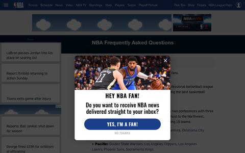 Screenshot of FAQ Page nba.com - NBA Frequently Asked Questions | NBA.com - captured March 10, 2019
