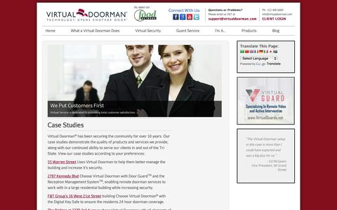 Screenshot of Case Studies Page virtualdoorman.com - Case Studies | - captured Oct. 26, 2014