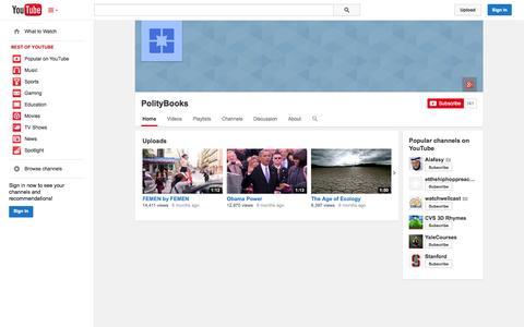 Screenshot of YouTube Page youtube.com - PolityBooks  - YouTube - captured Oct. 23, 2014