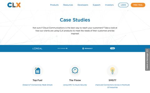 Screenshot of Case Studies Page clxcommunications.com - Industry Guides - CLX Communications SMS MMS Messaging - captured May 21, 2018