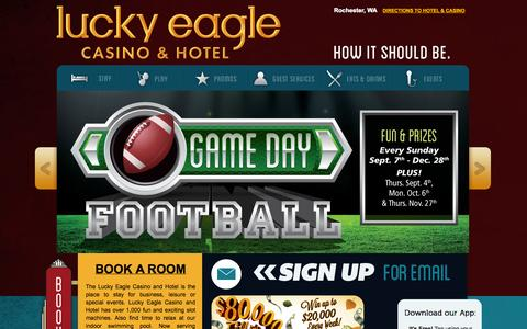Screenshot of Home Page luckyeagle.com - Lucky Eagle Casino - captured Oct. 3, 2014