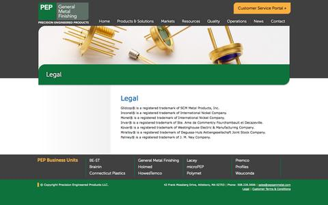 Screenshot of Terms Page pepgenmetal.com - Legal | General Metal Finishing - captured Nov. 1, 2014