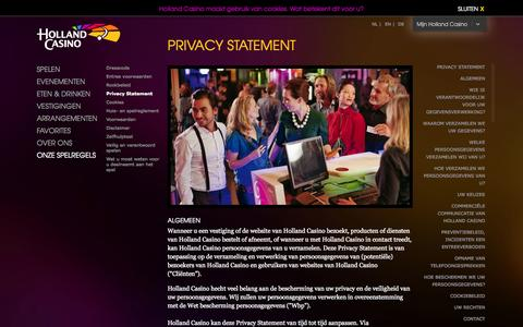 Screenshot of Privacy Page hollandcasino.nl - Privacy statement | Holland Casino - captured Sept. 19, 2014
