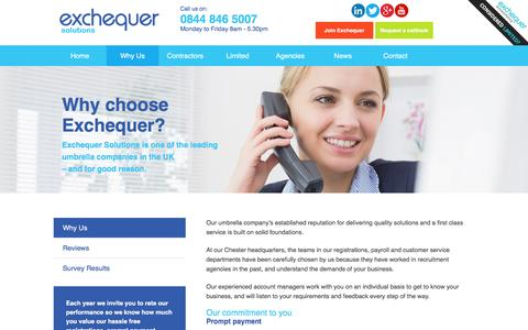 Screenshot of About Page exchequersolutions.co.uk - Why choose Exchequer as your umbrella company - captured July 17, 2016