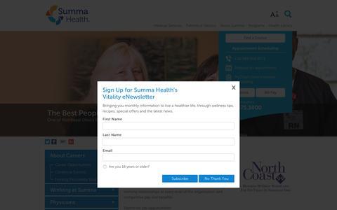 Screenshot of Jobs Page summahealth.org - Summa Jobs | Summa Careers - Summa Health Careers - captured Sept. 1, 2016
