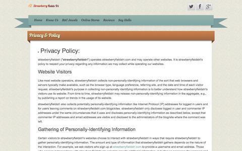 Screenshot of Privacy Page strawberryfieldstri.com - Privacy & Policy - Strawberry Fields Tri James Allen Diamonds - captured Nov. 21, 2016