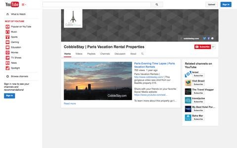 Screenshot of YouTube Page youtube.com - CobbleStay | Paris Vacation Rental Properties  - YouTube - captured Oct. 22, 2014