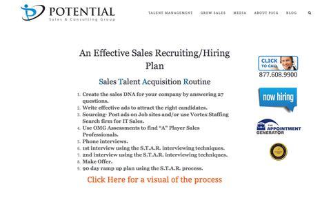 An Effective Sales Recruiting / Hiring Plan – Potential Sales and Consulting Group