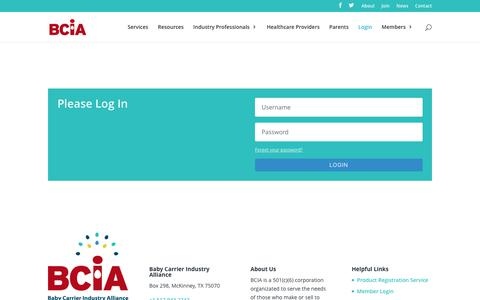 Screenshot of Login Page babycarrierindustryalliance.org - Login | Baby Carrier Industry Alliance - captured May 31, 2017