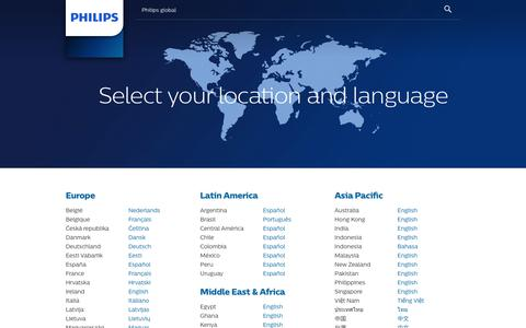 Screenshot of Products Page philips.com - Global country selector - captured Nov. 12, 2017