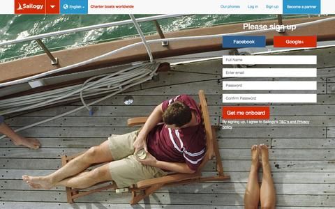 Screenshot of Signup Page sailogy.com - Sign up - Sailogy.com is a boat Rental & Yacht Charters global web site with 120 sailing destination. - captured Sept. 17, 2014