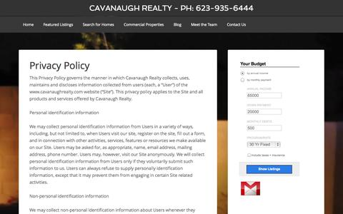 Screenshot of Privacy Page cavanaughrealty.com - Privacy Policy - captured Oct. 2, 2014