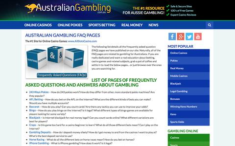 Screenshot of FAQ Page australiangambling.com.au - Gambling Questions and Answers - Australian Gambling FAQ List of Pages - captured May 31, 2017