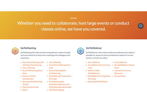 Screenshot of Site Map Page gotomeeting.com - Site Map | GoToMeeting, GoToWebinar, GoToTraining & OpenVoice - captured June 21, 2017