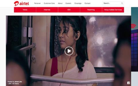 Screenshot of Home Page airtel.lk - Sri Lanka leading global telecommunications company - Airtel Sri Lanka - captured Oct. 21, 2015