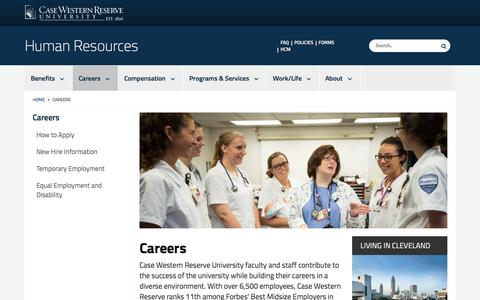 Screenshot of Jobs Page case.edu - Careers | Human Resources | Case Western Reserve University | Case Western Reserve University - captured Sept. 22, 2018