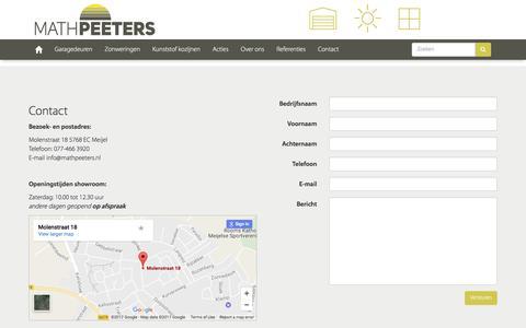 Screenshot of Contact Page mathpeeters.nl - MATHPEETERS - Contact - captured May 25, 2017