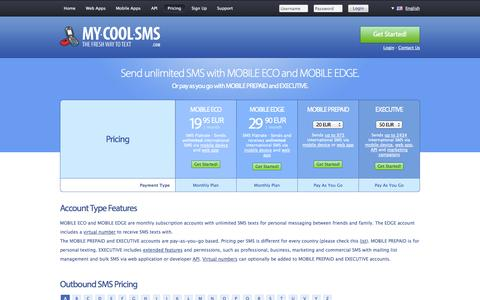 Screenshot of Pricing Page my-cool-sms.com - SMS Pricing · Send and receive inexpensive international SMS with a prepaid account or *unlimited* SMS with a My-Cool-SMS Flatrate. - captured Nov. 2, 2014