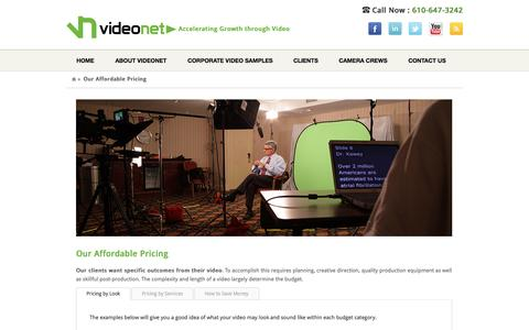 Screenshot of Pricing Page videonetinc.com - Our Affordable Pricing - - captured Oct. 7, 2014