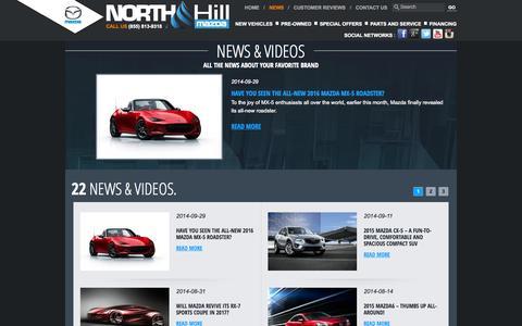 Screenshot of Press Page northhillmazda.com - Mazda News | Events | North Hill Mazda in Calgary, Alberta - captured Oct. 7, 2014