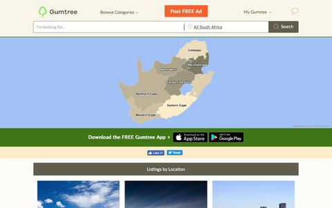 Screenshot of Locations Page gumtree.co.za - Gumtree South Africa City Guides - captured Oct. 31, 2019