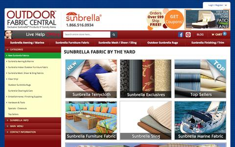 Screenshot of Home Page outdoorfabriccentral.com - Sunbrella Fabric by the Yard - Outdoor Fabric Central - captured Nov. 17, 2015