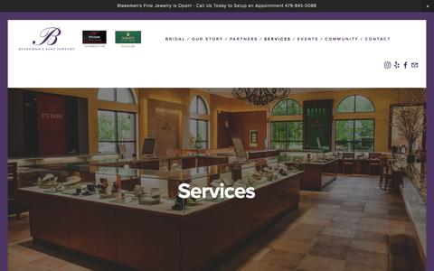 Screenshot of Services Page blakemansfinejewelry.com - Services — Blakeman's fine jewelry - captured July 29, 2016