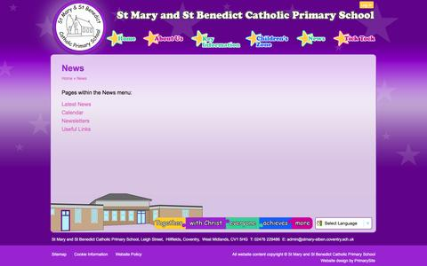 Screenshot of Press Page stmary-stben.coventry.sch.uk - News | St Mary and St Benedict Catholic Primary School - captured May 24, 2016