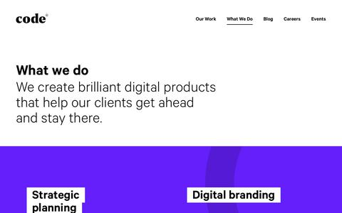 Screenshot of Services Page codecomputerlove.com - What We Do: Innovate, Build, & Grow - captured April 15, 2018