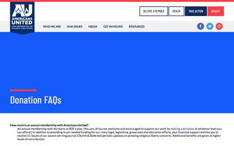 Screenshot of FAQ Page au.org - Donation FAQs   Americans United for Separation of Church and State - captured Sept. 25, 2018