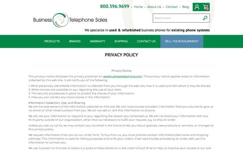 Screenshot of Privacy Page businesstelephone.com - Business Telephone Sales - Privacy Policy - Business Telephone Sales - captured Sept. 22, 2018