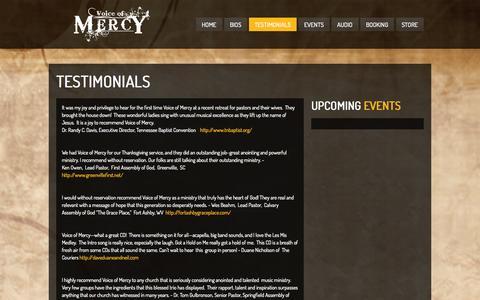 Screenshot of Testimonials Page voiceofmercytrio.com - Testimonials  Voice of Mercy - captured Oct. 9, 2014