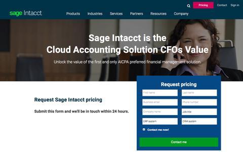 Screenshot of Pricing Page sageintacct.com - Sage Intacct Pricing | Sage Intacct - captured Sept. 18, 2019