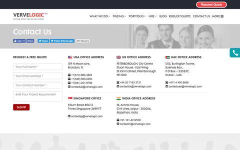 Screenshot of Contact Page vervelogic.com - Contact Us - captured June 12, 2017