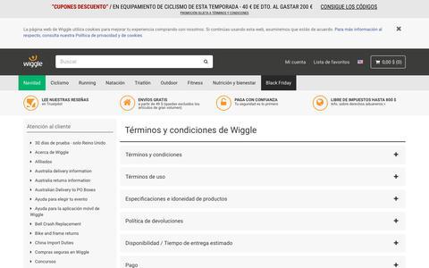 Screenshot of Terms Page wiggle.es - Wiggle Atención al cliente - captured Nov. 17, 2018