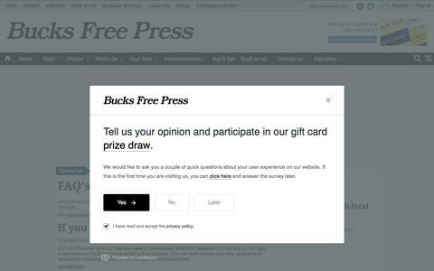 Screenshot of FAQ Page bucksfreepress.co.uk - FAQs news from the Bucks Free Press - captured Oct. 28, 2017