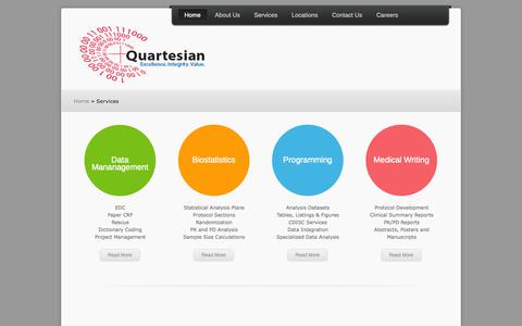 Screenshot of Services Page quartesian.com - Quartesian | Clinical Data Specialists - captured Sept. 30, 2014