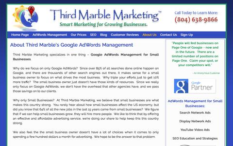 Screenshot of About Page thirdmarblemarketing.com - Google AdWords for Small Businesses - captured Sept. 30, 2014