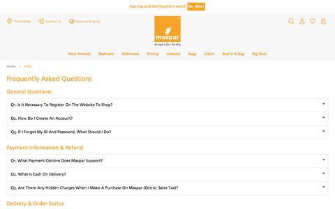 Screenshot of FAQ Page maspar.com - FAQs - captured Oct. 17, 2017