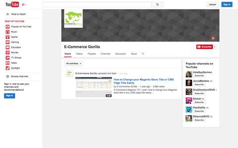 Screenshot of YouTube Page youtube.com - E-Commerce Gorilla  - YouTube - captured Oct. 22, 2014