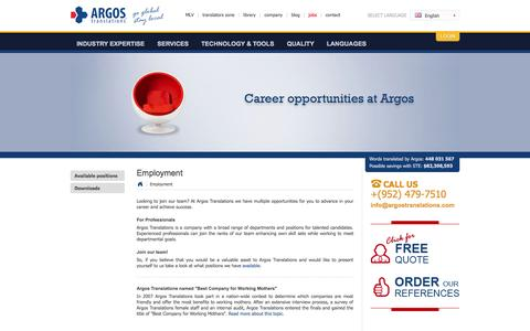 Screenshot of Jobs Page argostranslations.com - Translation Jobs | Translator Jobs | Jobs for Translators | Translation Careers | Translation Recruitment | Argos HR - captured Sept. 19, 2014