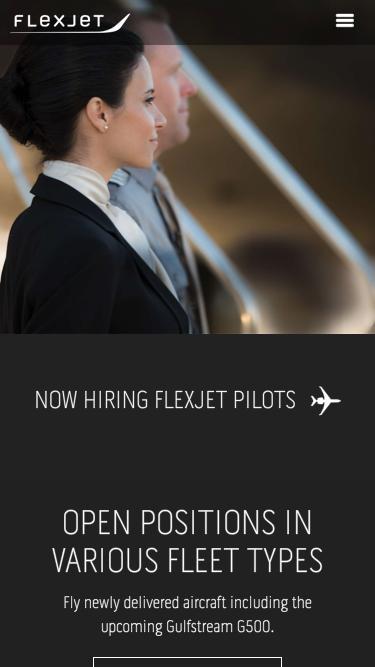 Screenshot of Jobs Page  flexjet.com - Pilot Recruitment | Flexjet