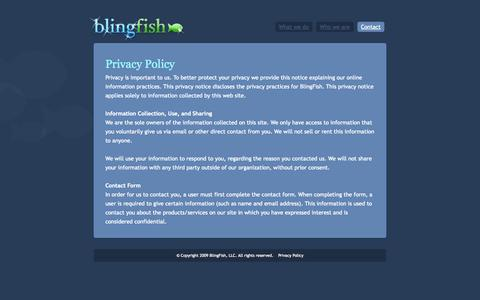 Screenshot of Privacy Page blingfish.com - BlingFish - Contact Us - captured Sept. 30, 2014