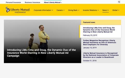 Screenshot of Press Page libertymutualgroup.com - Liberty Mutual Insurance News - captured March 26, 2019
