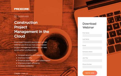 Screenshot of Landing Page procore.com - Construction Project Management in the Cloud - captured April 17, 2018