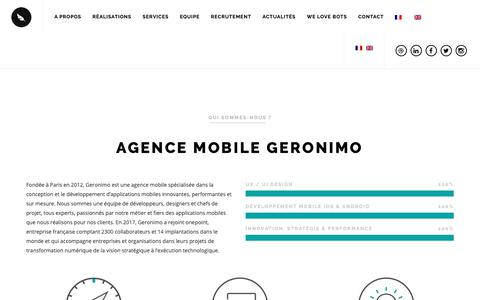 Screenshot of Home Page geronimo-agency.com - Agence Mobile Geronimo - Développement d'Applications Mobiles - captured Nov. 10, 2018