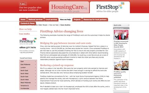 Screenshot of Case Studies Page firststopcareadvice.org.uk - FirstStop's work and the outcomes it helps its clients achieve. - captured Oct. 6, 2014